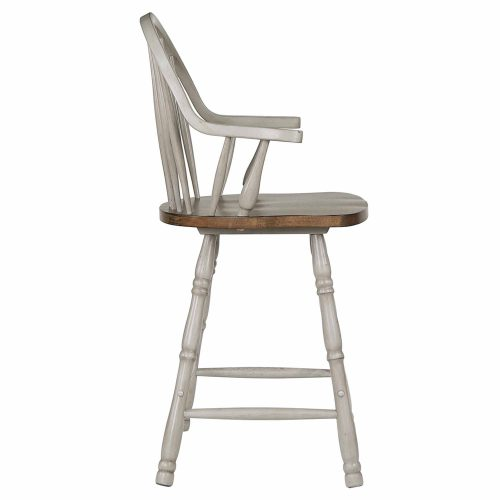 Country Grove Collection - Windsor Counter height stools with arms in distressed gray finish and Oak seat - side view - DLU-CG-B3024A-GO-2