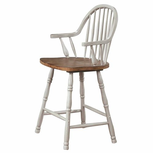 Country Grove Collection - Windsor Counter height stools with arms in distressed gray finish and Oak seat - three-quarter view - DLU-CG-B3024A-GO-2