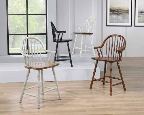 Country Grove Collection - Windsor Counter height stools with arms in various finishes - DLU-CG-B3024A-GO-2