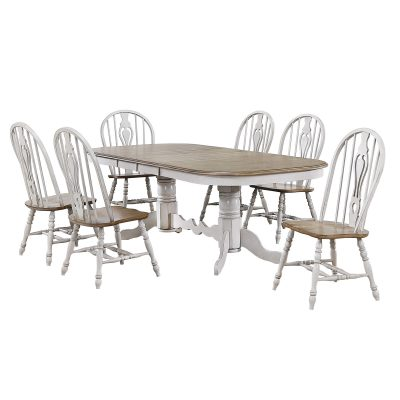 Country Grove Collection - seven-piece dining set with double pedestal table and six chairs DLU-CG4296-124SGO7