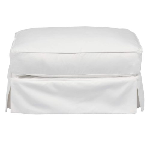 Horizon Slipcovered Collection - Padded Ottoman - Front view SU-117630-391081