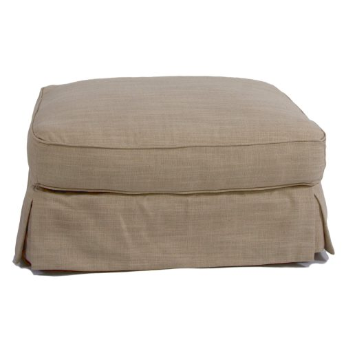 Horizon Slipcovered Collection - Padded Ottoman - Front view SU-117630-466082
