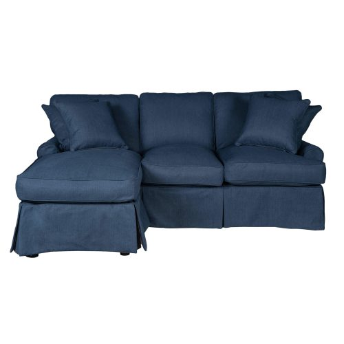 Horizon Slipcovered Collection - Sleeper Sofa with chaise on left - front view SU-117678-391049