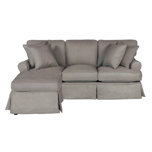 Horizon Slipcovered Collection - Sleeper Sofa with chaise on left - front view SU-117678-391094