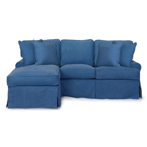 Horizon Slipcovered Collection - Sleeper Sofa with chaise on left - front view SU-117678-410046