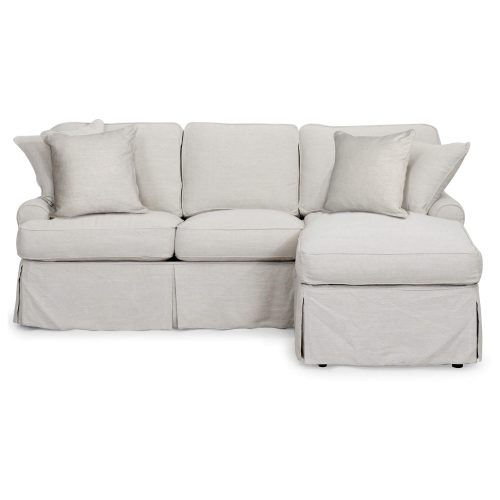 Horizon Slipcovered Collection - Sleeper Sofa with chaise on right - front view SU-117678-220591