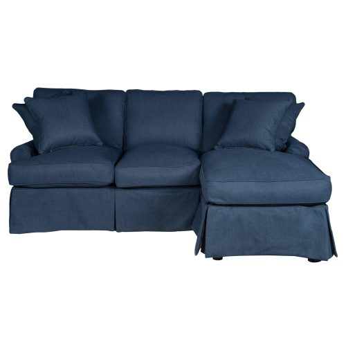 Horizon Slipcovered Collection - Sleeper Sofa with chaise on right - front view SU-117678-391049
