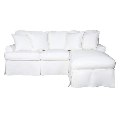 Horizon Slipcovered Collection - Sleeper Sofa with chaise on right - front view SU-117678-391081
