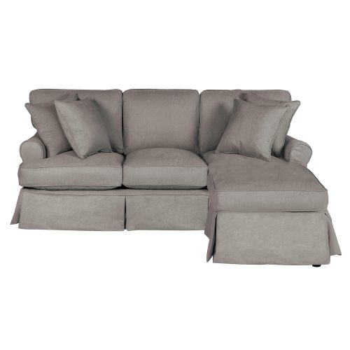 Horizon Slipcovered Collection - Sleeper Sofa with chaise on right - front view SU-117678-391094