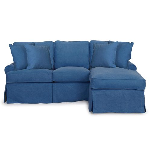 Horizon Slipcovered Collection - Sleeper Sofa with chaise on right - front view SU-117678-410046