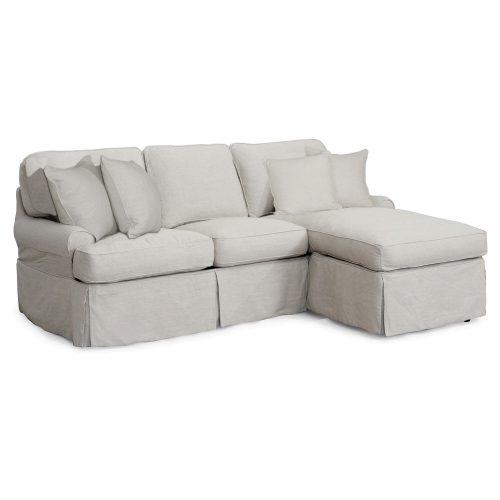 Horizon Slipcovered Collection - Sleeper Sofa with chaise - three-quarter view SU-117678-220591