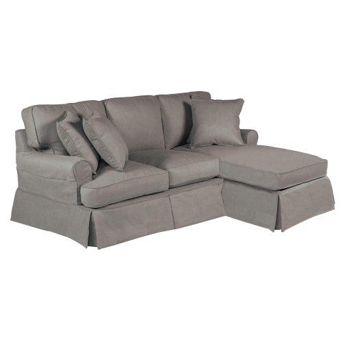Horizon Slipcovered Collection - Sleeper Sofa with chaise - three-quarter view SU-117678-391094