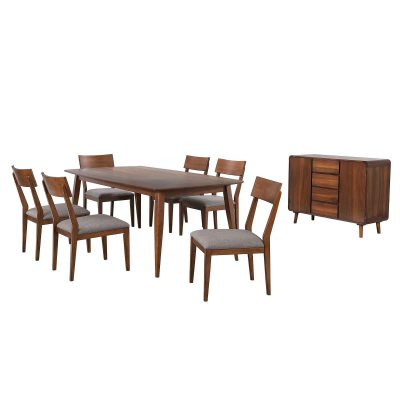 Mid-Century Dining Collection - eight-piece dining set - three-quarter view DLU-MC4278-C45-SR8P