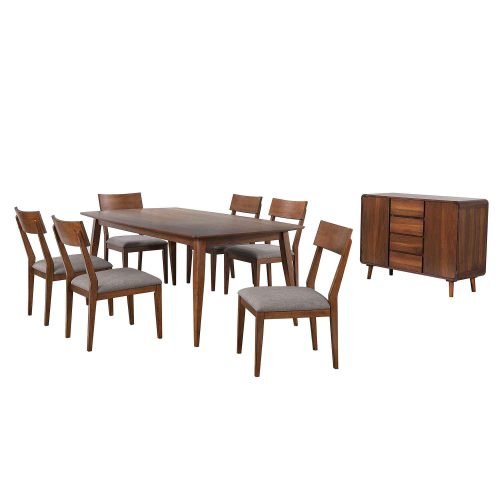 Mid-Century Dining Collection - eight-piece dining set - three-quarter view DLU-MC4278-C45-SR8P