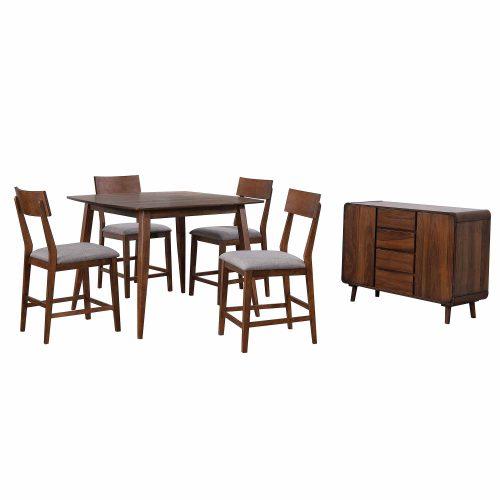 Mid-Century Dining Collection - six-piece pub height dining set - three-quarter view - DLU-MC4848-B45-SR6P