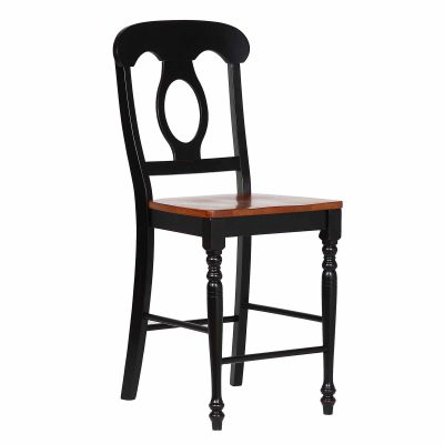 Napoleon Barstools in Antique Black finish with Cherry Seats DLU-B50-BCH-2