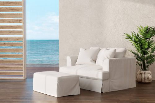 Newport Slipcovered Collection - Chair and a half with ottoman - living room setting SY-130015-30-391081
