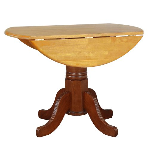Oak Selection - Round dining table with drop leaf - nutmeg finish with light-oak top - leaf down DLU-TPD4242-NLO