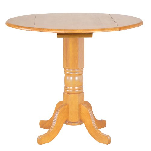 Oak Selection - Round pub table with drop leaf - light-oak finish DLU-TPD4242CB-LO