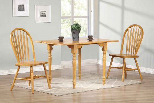 Oak Selections - 3-piece dining set - butterfly table with two Arrow-back chairs in a light-oak finish - dining room setting DLU-TLD3448-820-LO3PC