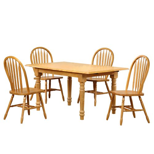 Oak Selections - 5-piece dining set - Butterfly top table with four Arrow-back chairs in a light-oak finish DLU-TLB3660-820-LO5PC