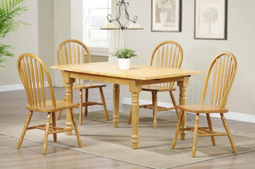 Oak Selections - 5-piece dining set - Butterfly top table with four Arrow-back chairs in a light-oak fininsh - dining room setting DLU-TLB3660-820-LO5PC
