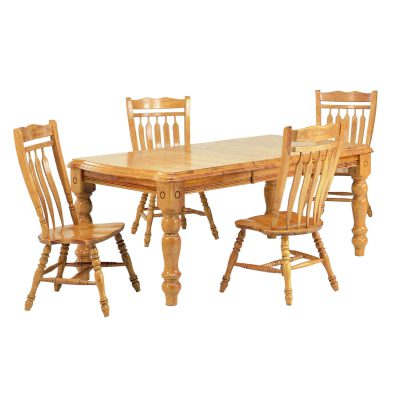 Oak Selections - 5-piece dining set - Extendable dining table with four Aspen chairs - light-oak finish DLU-SLT4272-C10-LO5PC