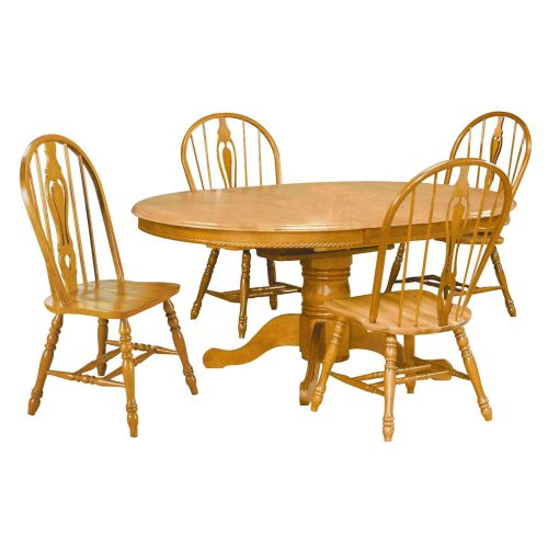 Oak Selections - 5-piece dining set - Pedestal dining table with butterfly leaf - four keyhole chairs - light-oak finish DLU-TBX4866-124S-LO5PC