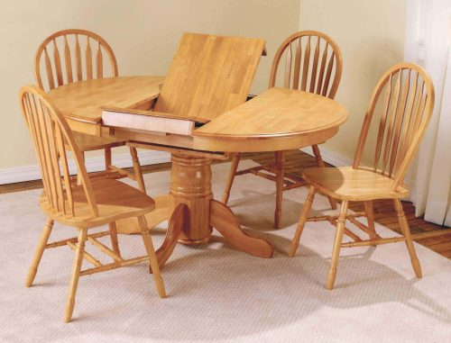 Oak Selections - 5-piece dining set - Pedestal table with butterfly leaf and four Arrow-back chair in a light-oak finish dining room setting DLU-TBX4266-820-LO5PC