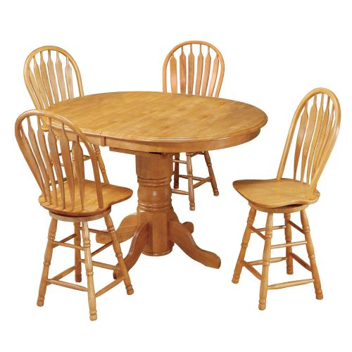 Oak Selections - 5-piece dining set - Pub table with butterfly leaf and four swivel barstools - Light-oak finish DLU-TBX4266CB-B24-LO5PC