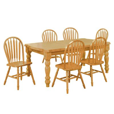 Oak Selections - 7-piece dining set - Extendable dining table with six Arrow-back chairs in a light-oak finish DLU-SLT4272-820-LO7PC