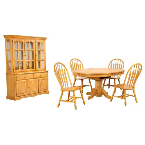 Oak Selections - 7-piece dining set - Pedestal dining table with butterfly leaf - four keyhole chairs - buffet and lighted hutch - light-oak finish DLU-TBX4866-4130-22BHLO7PC