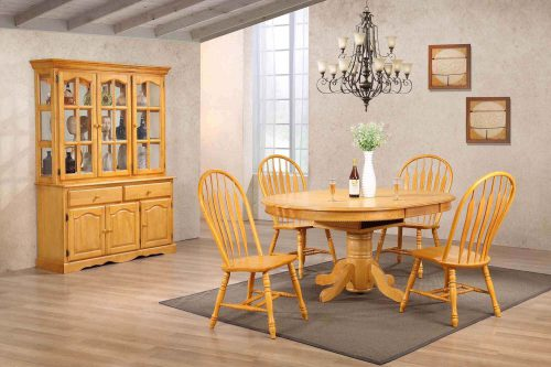 Oak Selections - 7-piece dining set - Pedestal dining table with butterfly leaf - four keyhole chairs - buffet and lighted hutch - light-oak finish - dining room setting DLU-TBX4866-4130-22BHLO7PC