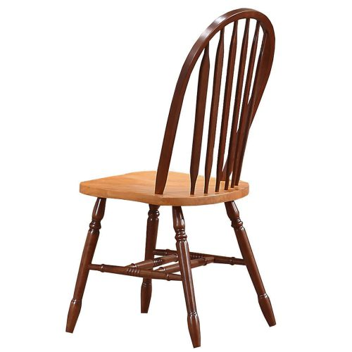 Oak Selections - Arrow-back dining chair - 38 inch high - nutmeg finish with light-oak seat - back view DLU-820-NLO-2