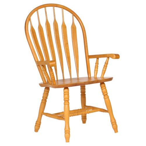 Oak Selections - Comfort back dining arm chair - light-oak - front view DLU-4130-LO-A