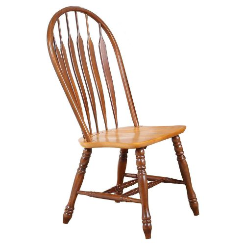 Oak Selections - Comfort back dining chair - nutmeg finish with light-oak seat - front view DLU-4130-NLO-2