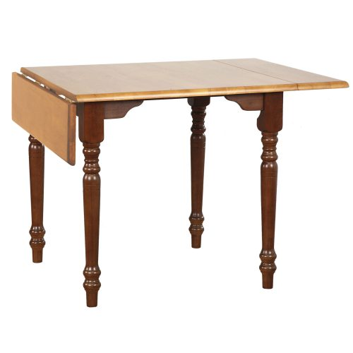 Oak Selections - Drop leaf dining table in a nutmeg finish with a light-oak top - leaf down DLU-TLD3448-NLO