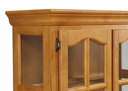 Oak Selections - Keepsake Buffet and lighted hutch in light-Oak detail of top molding DLU-19-BH-LO