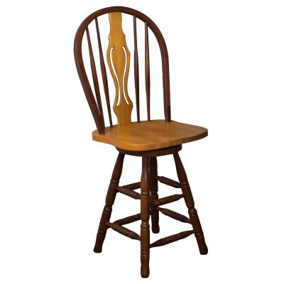 Oak Selections - Keyhole Barstool - 24 inch high - nutmeg finish with light-oak seat - front view DLU-B124-24-NLO