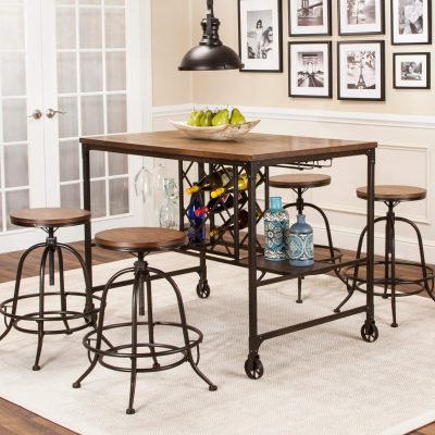 Rustic Elm Industrial Collection - Pub table with built-in wine rack and matching stools - three-quarter view CR-W3075-68-5PC