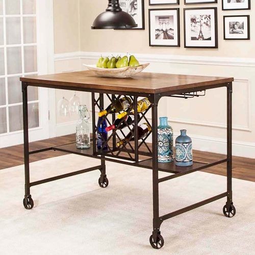 Rustic Elm Industrial Collection - Pub table with built-in wine rack - three-quarter view CR-W3075-68