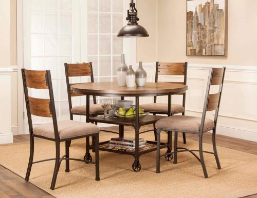 Rustic Elm Industrial Collection - Round dining table with matching chairs - three-quarter view CR-W3075-66