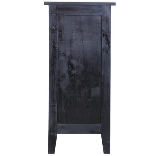 Shabby Chic Collection - Accent cabinet with door finished in antique black - back view CC-TAB1025LD-ABSV
