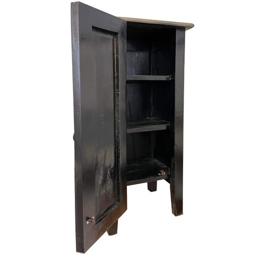 Shabby Chic Collection - Accent cabinet with door finished in antique black - three-quarter view with door open showing shelves CC-TAB1025LD-ABSV