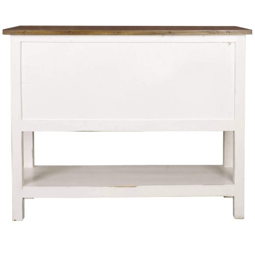 Shabby Chic Collection - Cabinet with drawers finished in distressed white with a Raftwood top - back view CC-CHE044TLD-WWRW