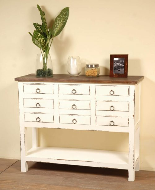 Shabby Chic Collection - Cabinet with drawers finished in distressed white with a Raftwood top - room setting CC-CHE044TLD-WWRW