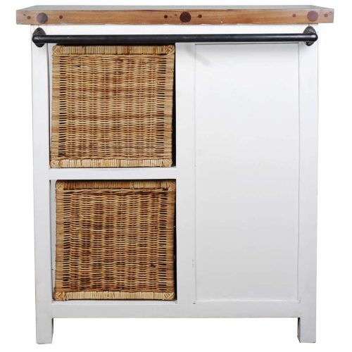 Shabby Chic Collection - Cabinet with two baskets and four drawers finished in distressed white - back view CC-CAB2228TLD-WWSV-B