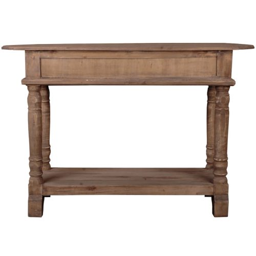 Shabby Chic Collection - Console table with drawers - finished in a brown salvaged wood - back view CC-TAB2287S-SV