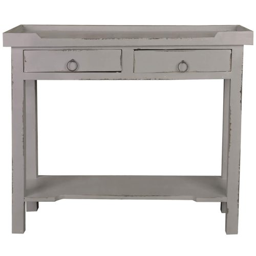 Shabby Chic Collection - Console table with drawers - finished in distressed antique gray - front view CC-TAB2284LD-AG
