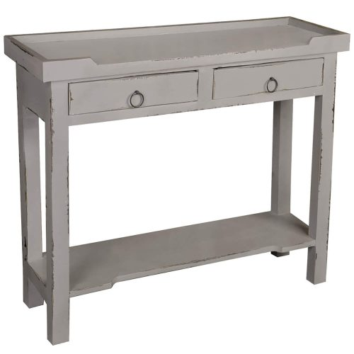 Shabby Chic Collection - Console table with drawers - finished in distressed antique gray - three-quarter view CC-TAB2284LD-AG